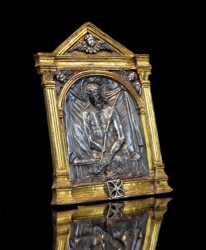 Renaissance bronze and silver Spanish pax of the Imago Pietatis -
