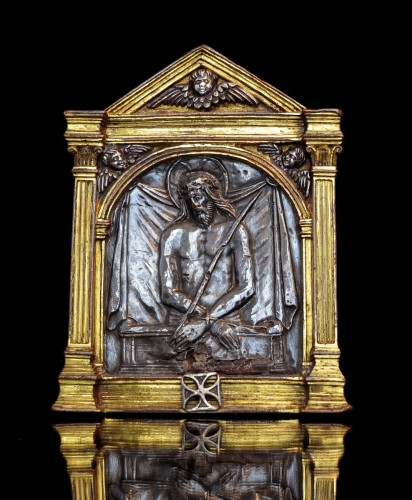 <= 16th century - Renaissance bronze and silver Spanish pax of the Imago Pietatis