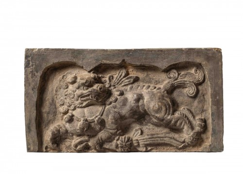 7th-9th cent. Tang Dynasty terracotta sanctuary brick depicting a chimera