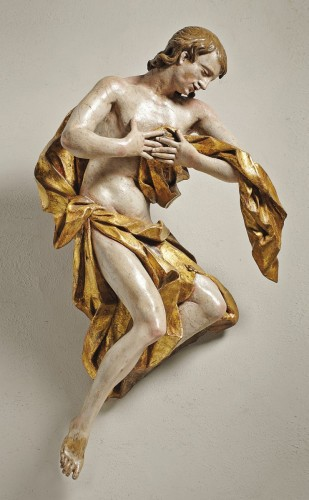 Polychrome and gilt wood angel, circle or workshop of Franz Ignaz Gunther - Sculpture Style Renaissance