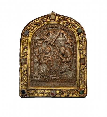 15th century bejeweled French pax depicting the Nativity