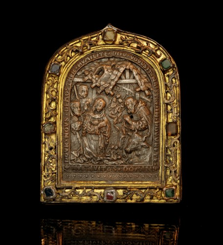 15th century bejeweled French pax depicting the Nativity - Religious Antiques Style Renaissance