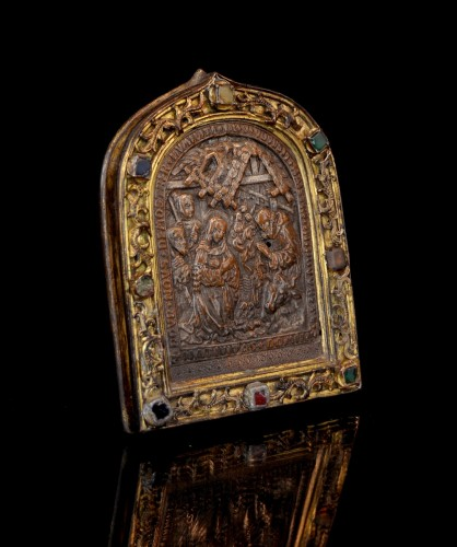<= 16th century - 15th century bejeweled French pax depicting the Nativity