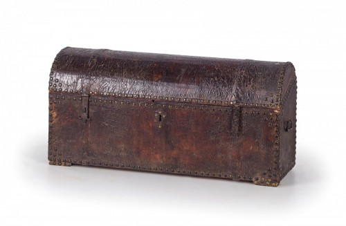 Impressive 18th century Italian studded leather storage trunk -
