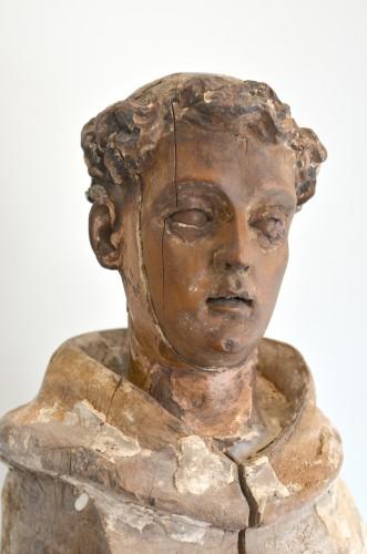 Sculpture  - 18th century Santos figure of a Franciscan Monk