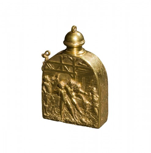 A scarce gold-plated Renaissance wine flask, after Peter Flötner