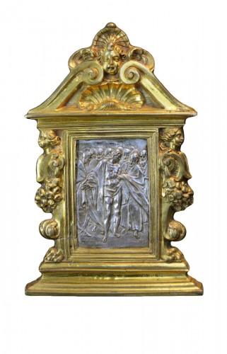 A gilt bronze and silver pax of Doubting Thomas by Antonio Gentili