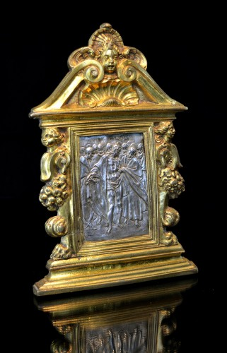 A gilt bronze and silver pax of Doubting Thomas by Antonio Gentili - Sculpture Style Renaissance