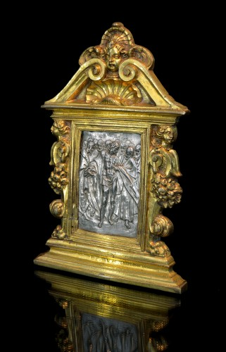 Sculpture  - A gilt bronze and silver pax of Doubting Thomas by Antonio Gentili