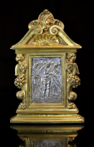A gilt bronze and silver pax of Doubting Thomas by Antonio Gentili -
