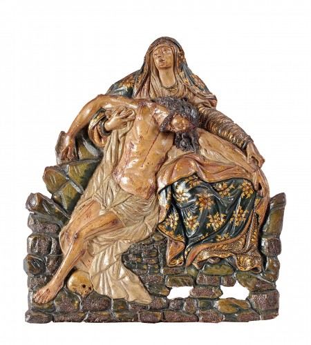 Polychrome terracotta altarpiece of the Pieta, 18th century