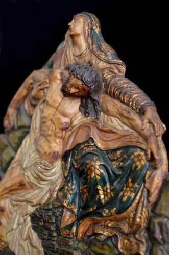 Polychrome terracotta altarpiece of the Pieta, 18th century - Sculpture Style Renaissance