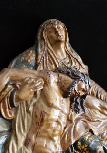 Sculpture  - Polychrome terracotta altarpiece of the Pieta, 18th century