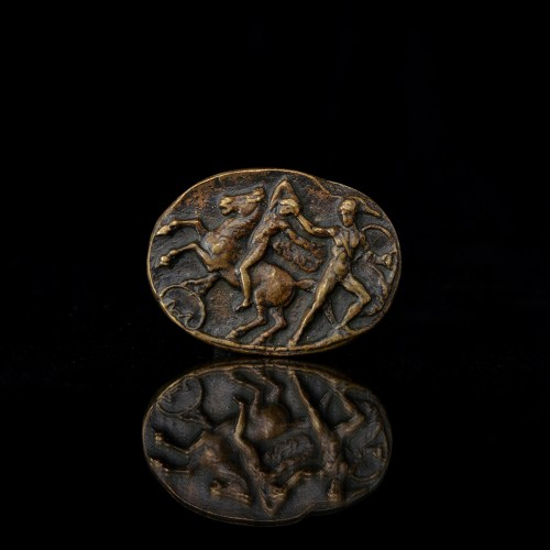 Sculpture  - A collection of four 15th century all'antica bronze Italian plaquettes