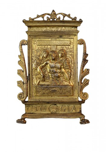 A gilt bronze pax of Christ in the Tomb, dated 1571, after Modern0
