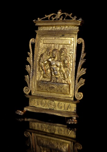 A gilt bronze pax of Christ in the Tomb, dated 1571, after Modern0 - Religious Antiques Style Renaissance