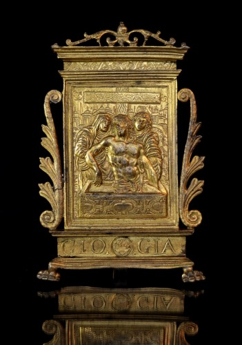 A gilt bronze pax of Christ in the Tomb, dated 1571, after Modern0 -