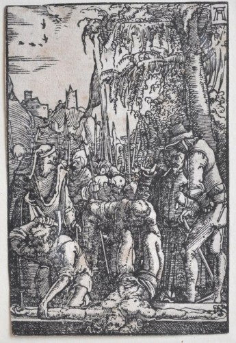 A framed collection of 7 woodcuts by Albrecht Altdorfer -