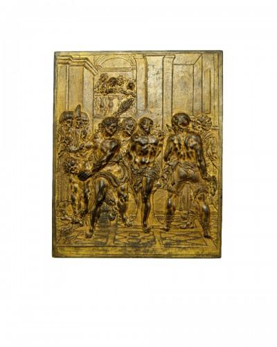 17th century bronze plaque of the Flagellation of Christ