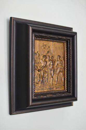 Religious Antiques  - 17th century bronze plaque of the Flagellation of Christ