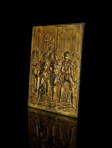 17th century - 17th century bronze plaque of the Flagellation of Christ