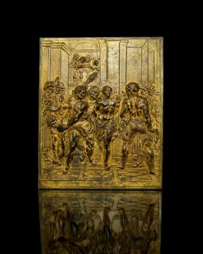 17th century bronze plaque of the Flagellation of Christ - Renaissance