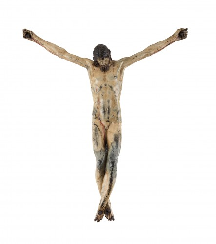 Rare and important painted bronze crucifix after Michelangelo