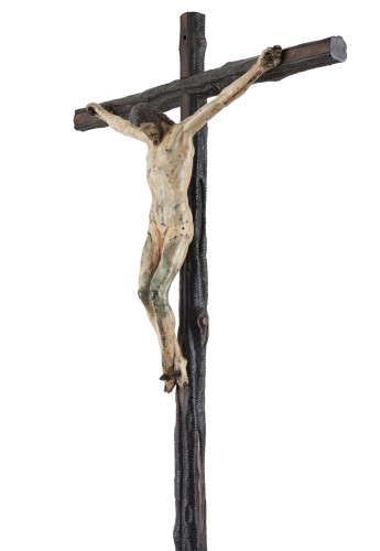 Rare and important painted bronze crucifix after Michelangelo - Sculpture Style Renaissance