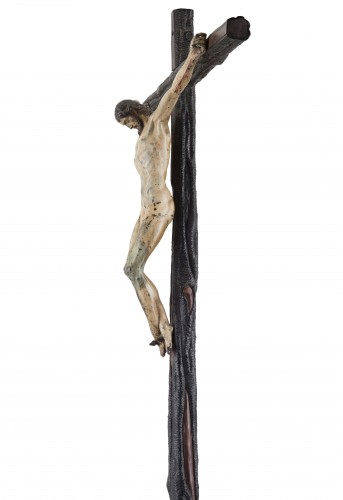 Sculpture  - Rare and important painted bronze crucifix after Michelangelo