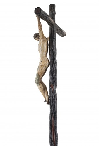 Rare and important painted bronze crucifix after Michelangelo -