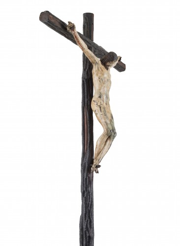 Renaissance - Rare and important painted bronze crucifix after Michelangelo