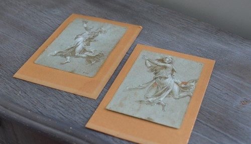 Paintings & Drawings  - Two 16th cent. 'modellini' of angels in adoration, attr. to Carlo Urbino