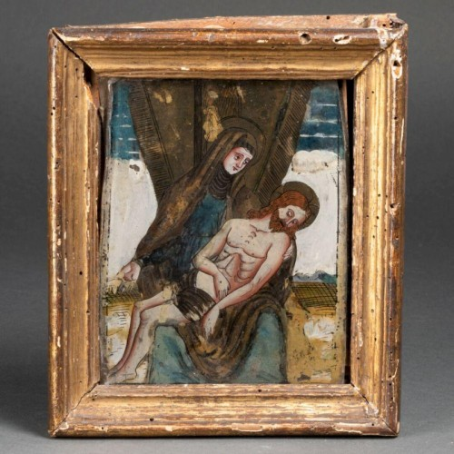 A reverse-painted glass Pieta made in Tyrol, ca. 1600 - Paintings & Drawings Style Renaissance