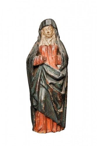 A Gothic Burgundian polychrome oak Madonna