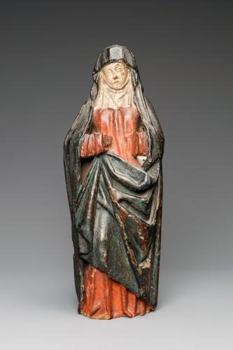 A Gothic Burgundian polychrome oak Madonna - Religious Antiques Style Renaissance