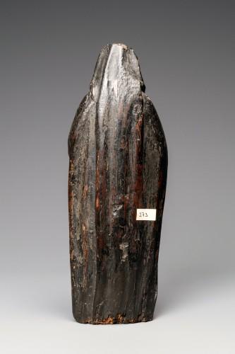 A Gothic Burgundian polychrome oak Madonna -