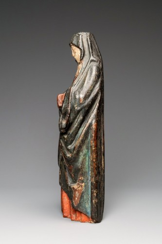 11th to 15th century - A Gothic Burgundian polychrome oak Madonna