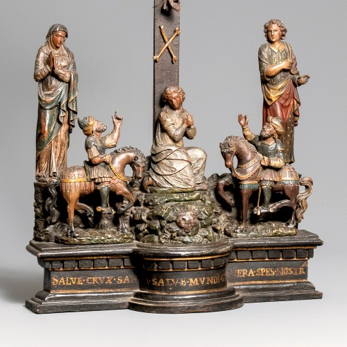 An Impressive 16th century European wood-carved Cavalry Group - Religious Antiques Style Renaissance