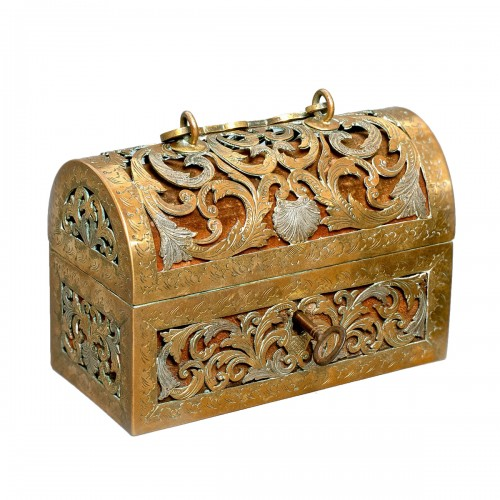 An exquisite silvered brass French coffret of the 17th century