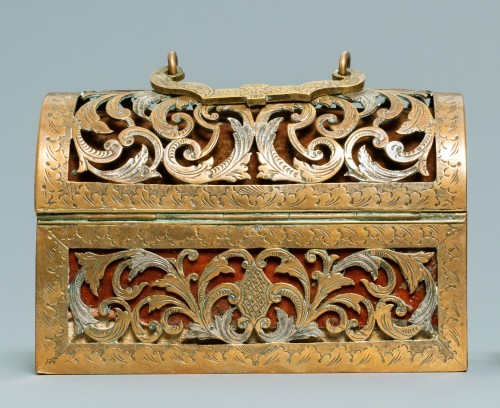 Objects of Vertu  - An exquisite silvered brass French coffret of the 17th century