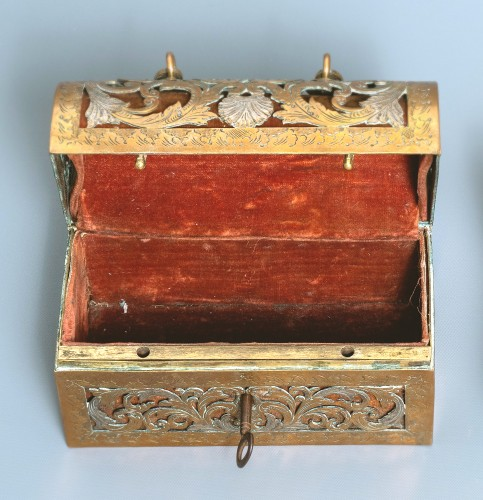 An exquisite silvered brass French coffret of the 17th century -
