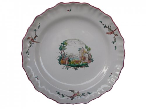 XVIIIth century landscape Plate MOUSTIERS