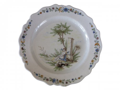 18th century Faience plate, attributed to La Tour d'Aigues