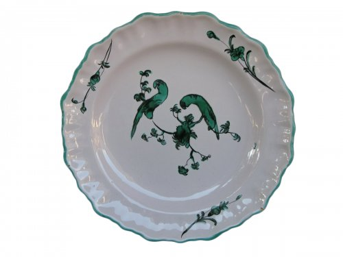 Parakeets Plate MOUSTIERS 18th century