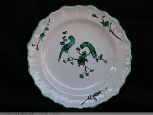 18th century - Parakeets Plate MOUSTIERS 18th century