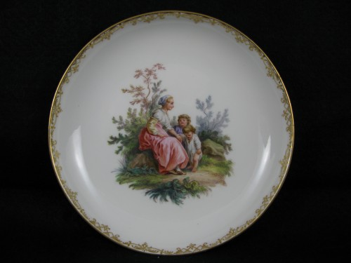 MEISSEN porcelain cup and saucer, MARCOLINI period - Porcelain & Faience Style Directoire