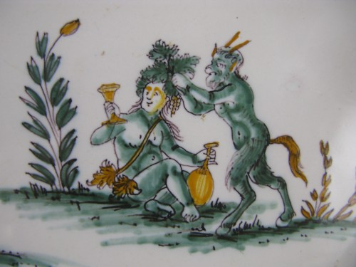 """18th century - 18th century Moustiers """"grotesques"""" dish"""