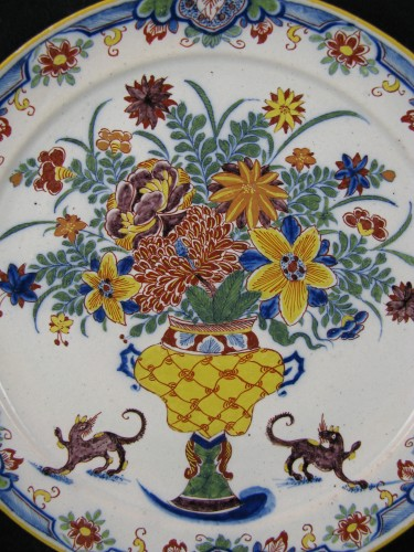 18th century Delft earthenware plate - Porcelain & Faience Style Louis XV