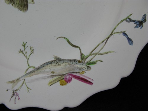 """Plate with """"Fish"""" decoration in 18th century Marseille earthenware. -"""