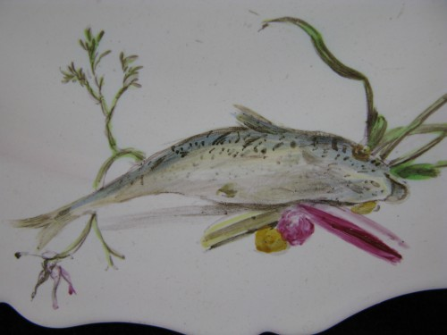 """18th century - Plate with """"Fish"""" decoration in 18th century Marseille earthenware."""